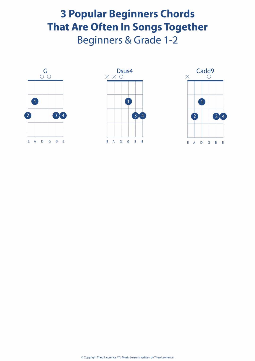 3 Popular Beginners Chords That Are Often In Songs Together – G, Dsus4, Cadd9