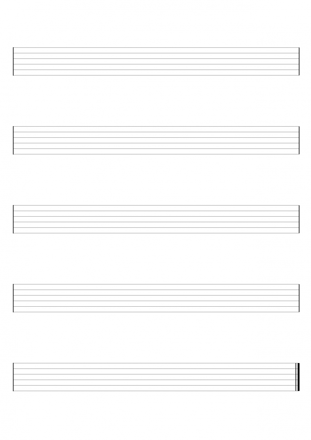 Blank Guitar, Ukulele and Bass Sheet Music For Hand Writing Guitar Tab or Chord Charts – Free PDF