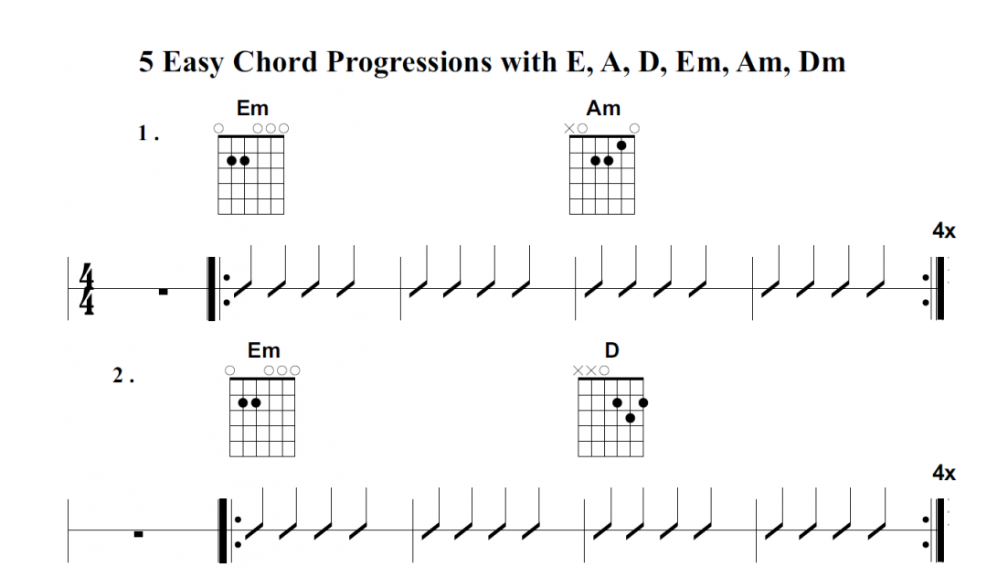 5 beginners Guitar & Ukulele Chord Exercises with E7, D, Em, Am