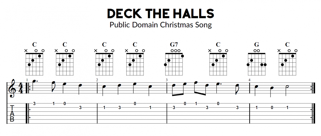 Deck The Halls – Guitar, Ukulele and Bass Melody and Chords Sheet Music with TAB