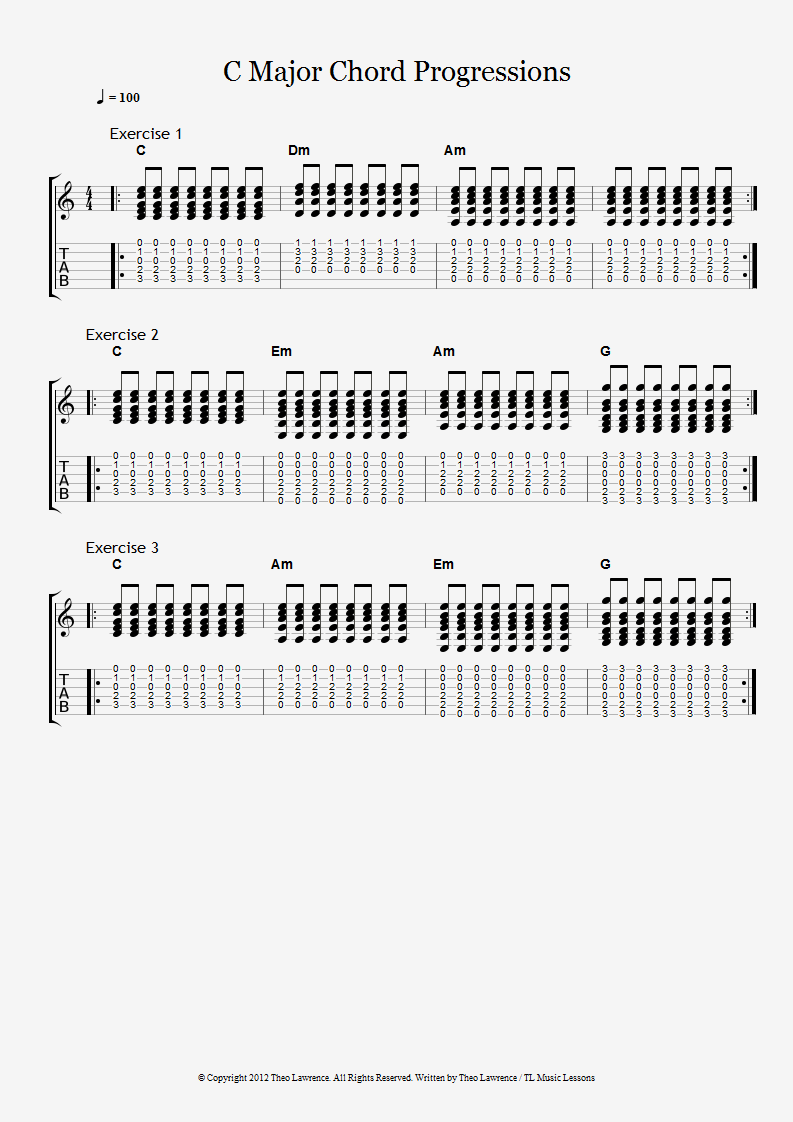 3 Chord Progression Exercises in C major using beginners chords