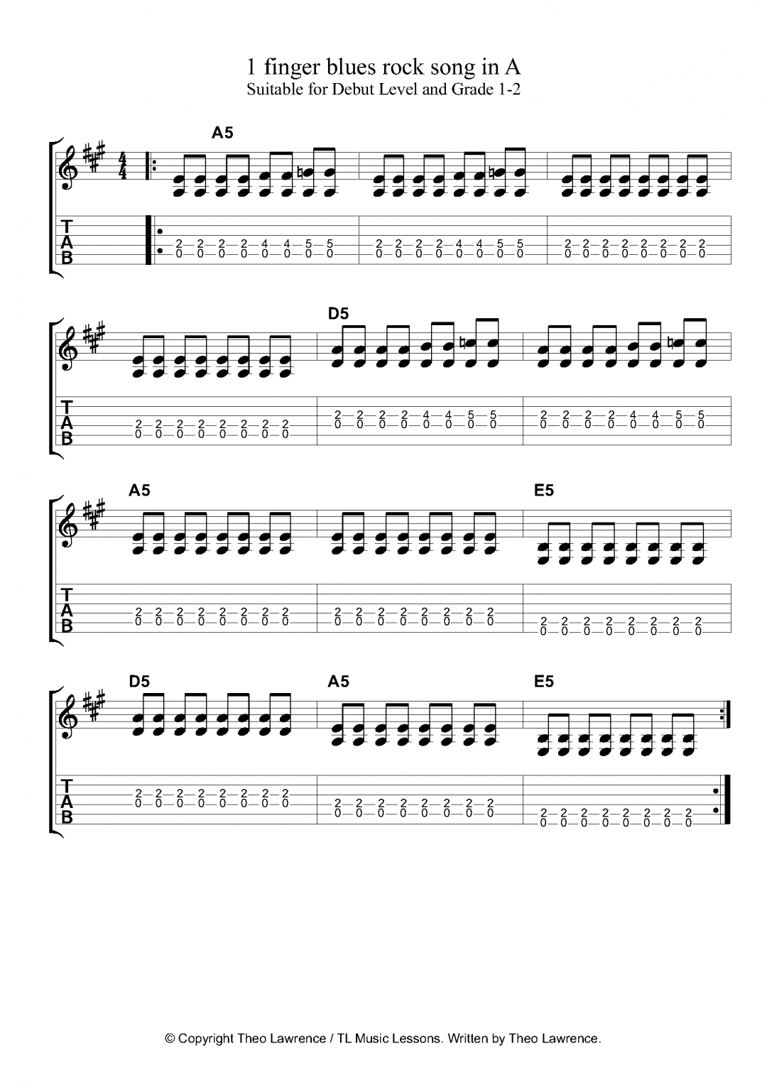 1 finger blues rock exercise in A with fret variations around the power chord shapes – for beginners