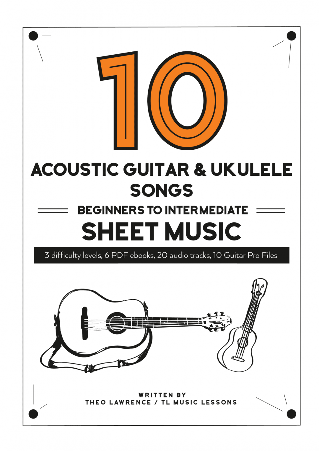 (Premium) – 10 Acoustic Guitar & Ukulele Songs – Beginners to Intermediate – Audio & PDF Sheet Music Ebooks