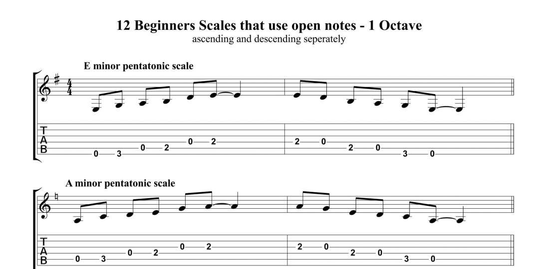 12 Beginners 1 Octave Open Scales – ascending and descending exercises