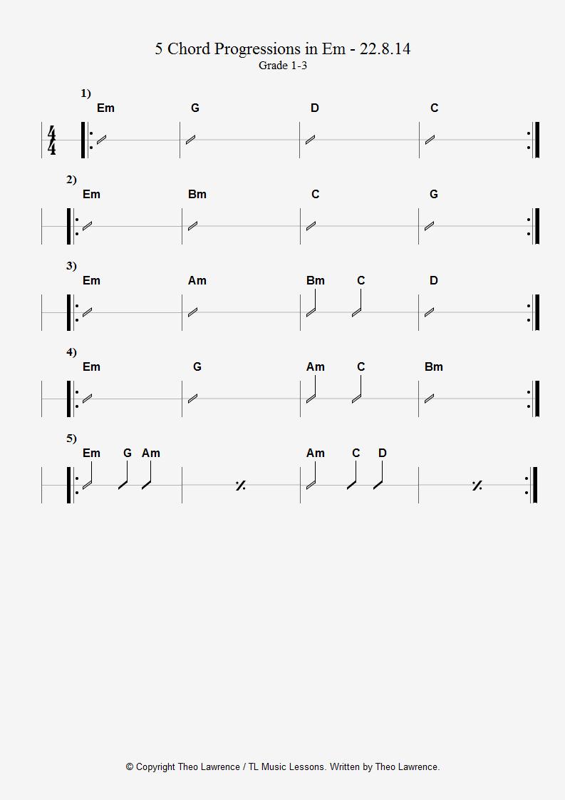 5 Chord Progressions in E minor