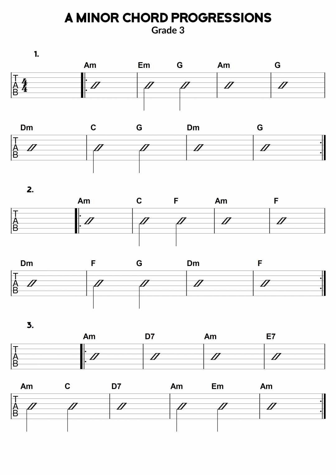 A minor Chord Progressions Exercises – Grade 3