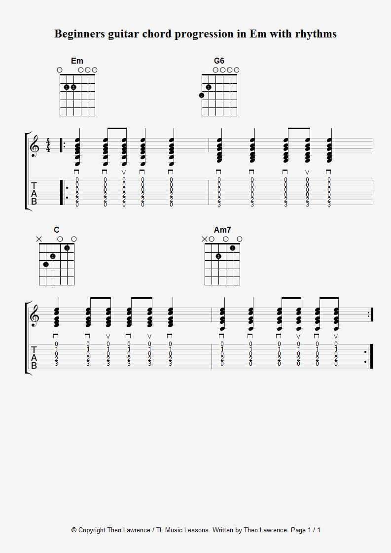 Beginners guitar chord progression in Em with strumming rhythms