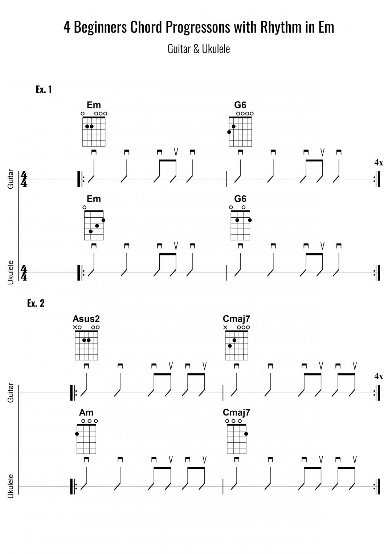4 Chord Progressions with Rhythm – Em – Essential Beginners – Ukulele & Guitar