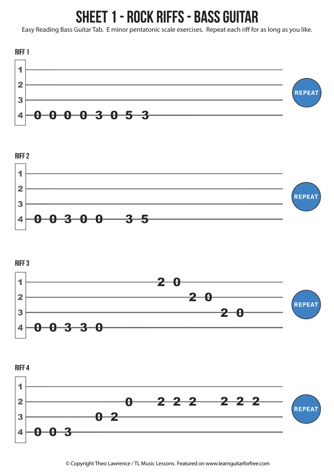 Sheet 1 – Rock Riffs – Bass Guitar