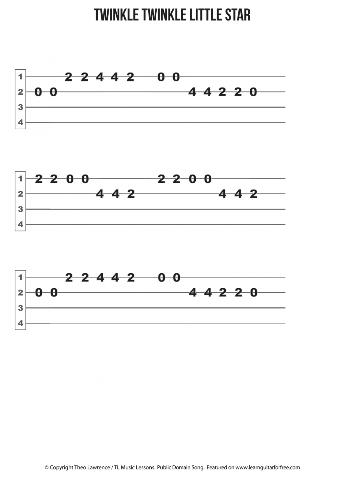 Twinkle Twinkle Little Star – Ukulele Easy Reading Tab