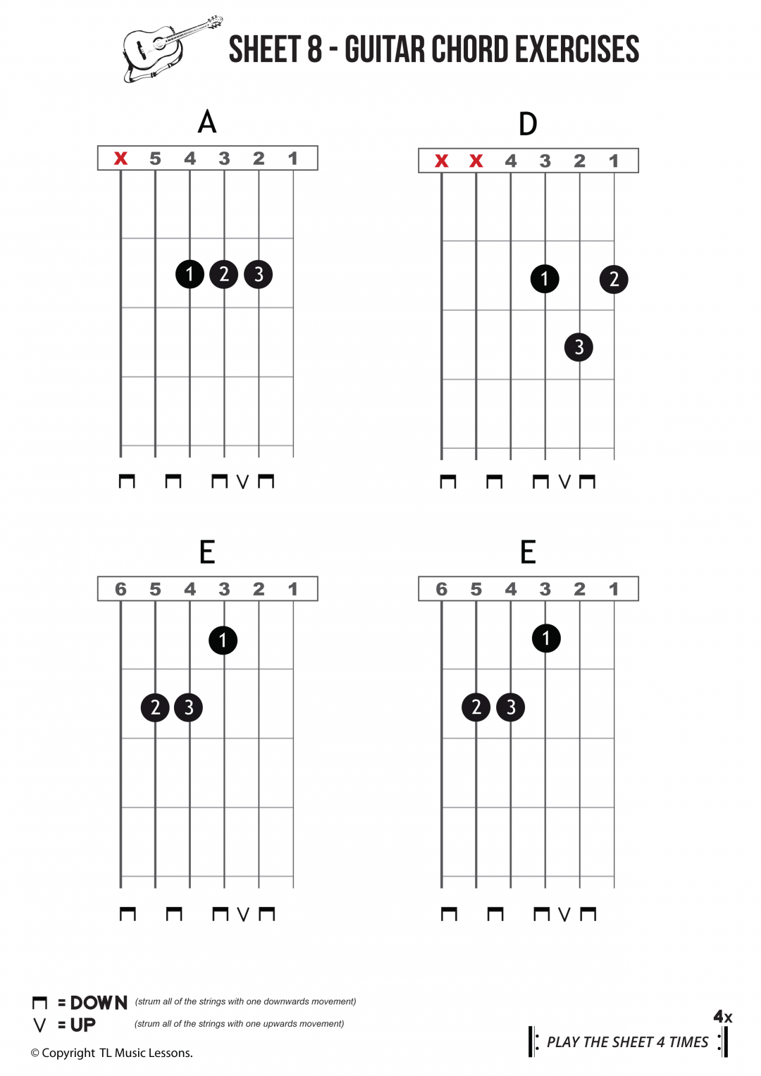 Sheet 8 – Beginners Guitar Chords – Easy Reading Chord Exercise