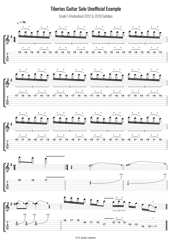 Tiberius Guitar Solo Unofficial Example – Grade 5 Rockschool