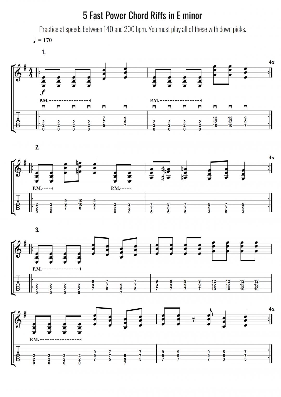 5 Fast Power Chord Riffs in E minor