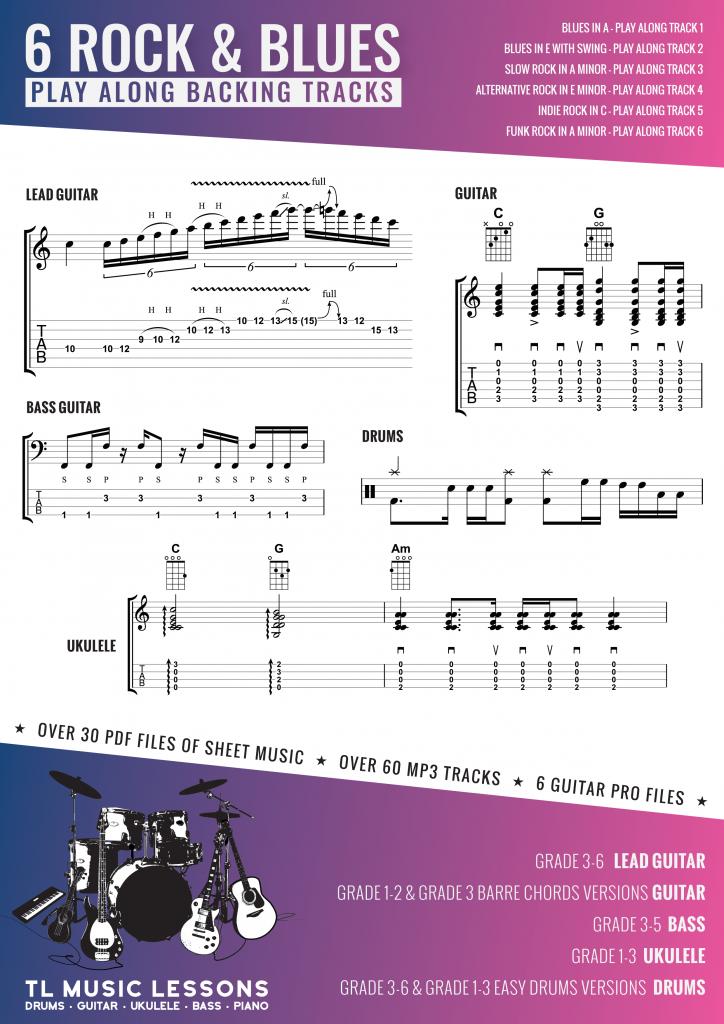 6 Rock and Blues Play Along Backing Tracks