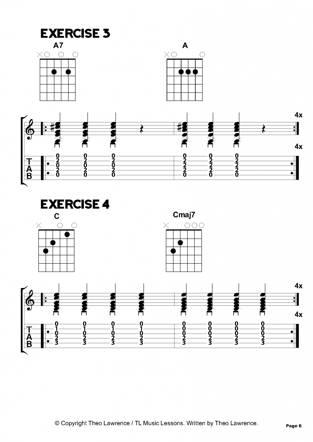 Exercises 3-4 – 50 Acoustic Guitar Chord Exercises – Beginners & Grade 1-2