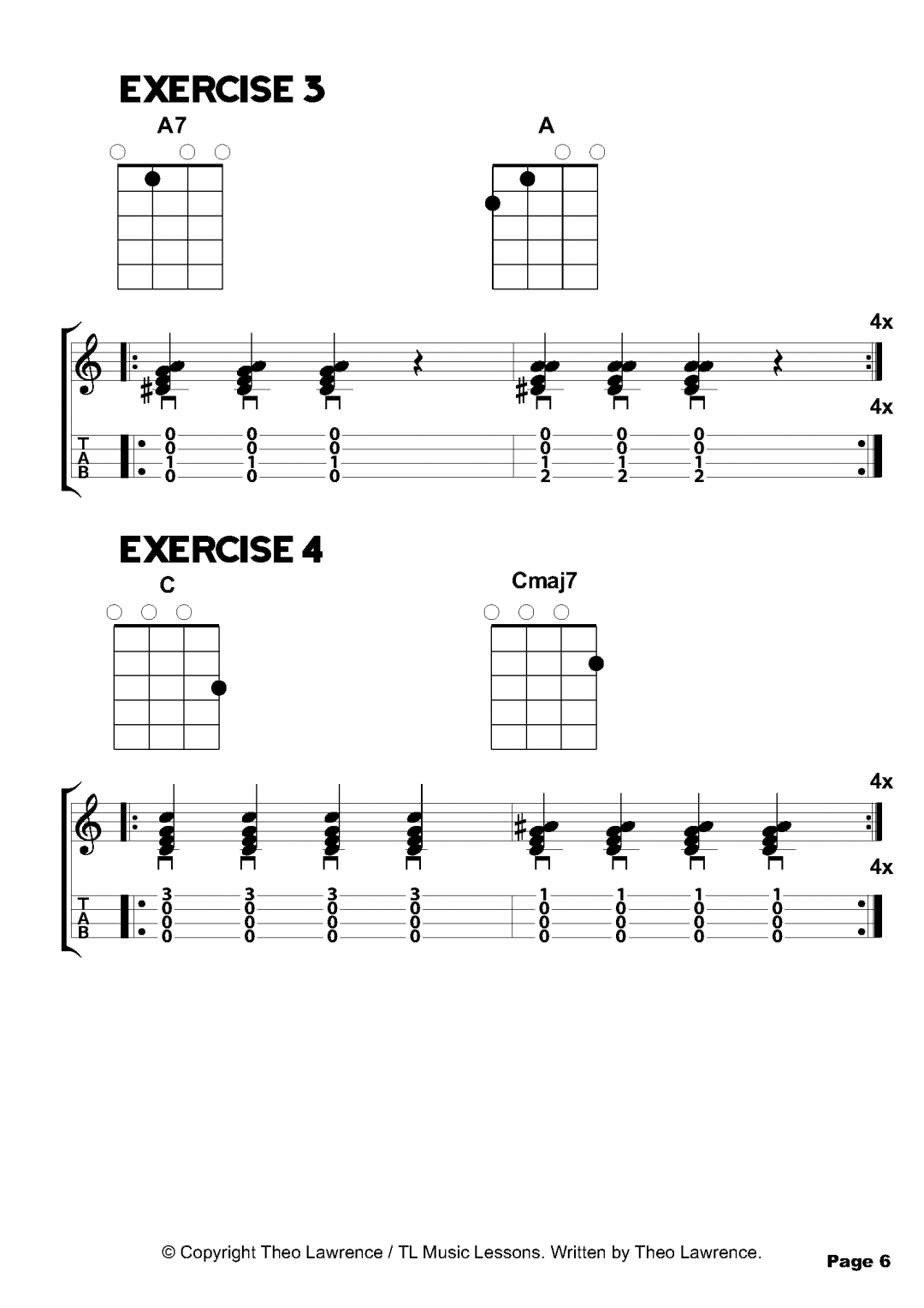 Beginners Ukulele Chord Exercises 3-4 of 50