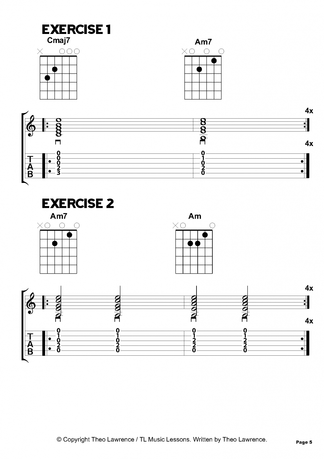 Exercises 1 and 2 – 50 Acoustic Guitar Chord Exercises – Beginners & Grade 1-2