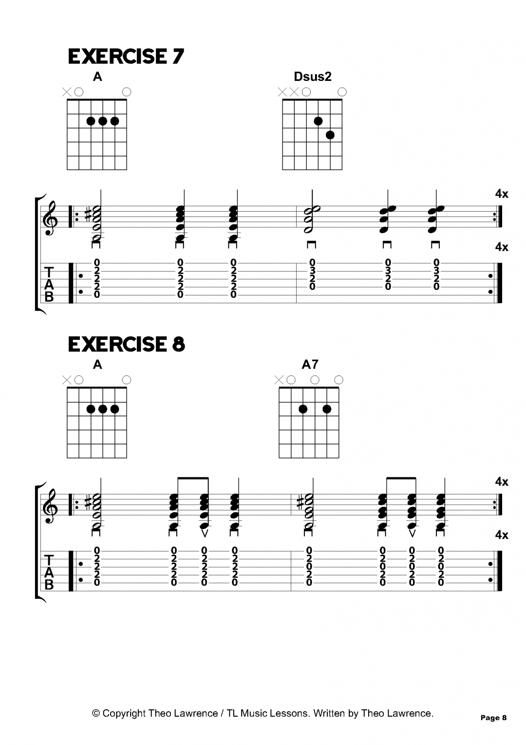 Exercises 7-8 – Inside The Book: 50 Acoustic Guitar Chord Exercises for Beginners
