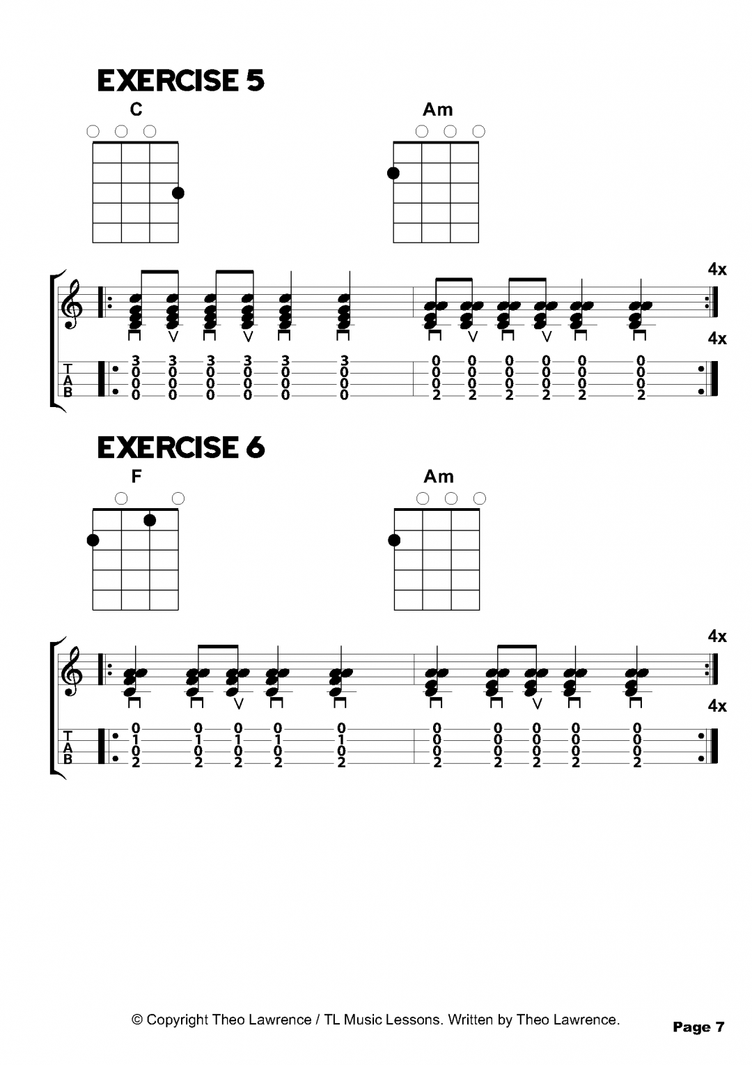 Beginners Ukulele Chord Exercises 5-6 of 50