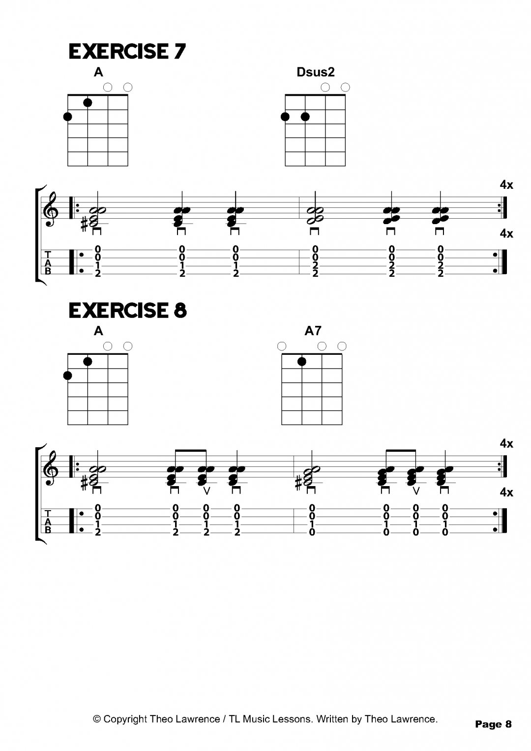 Exercises 7-8 – Inside The Book: 50 Ukulele Chord Exercises for Beginners