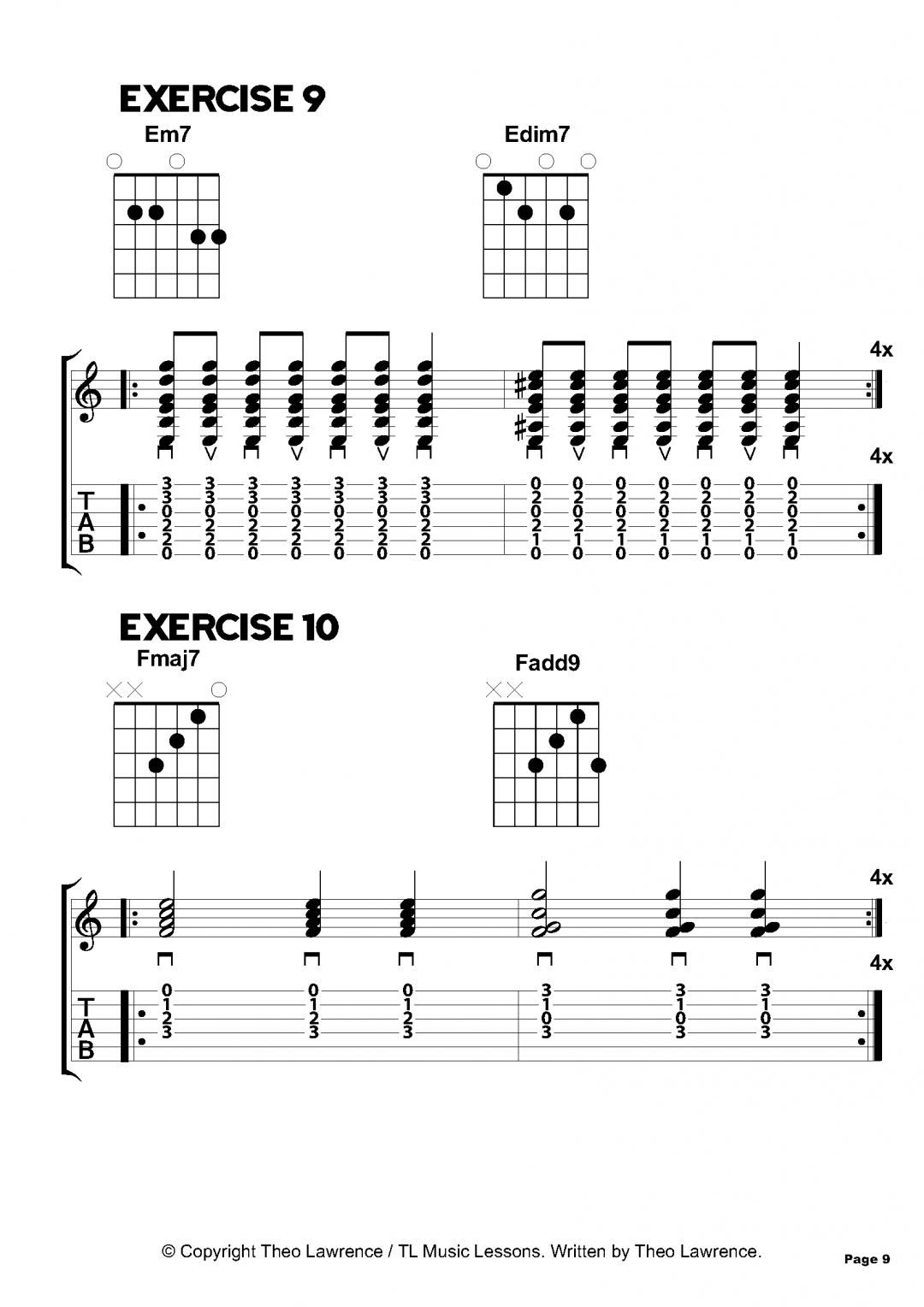 Exercises 9-10 – Inside The Book: 50 Acoustic Guitar Chord Exercises for Beginners