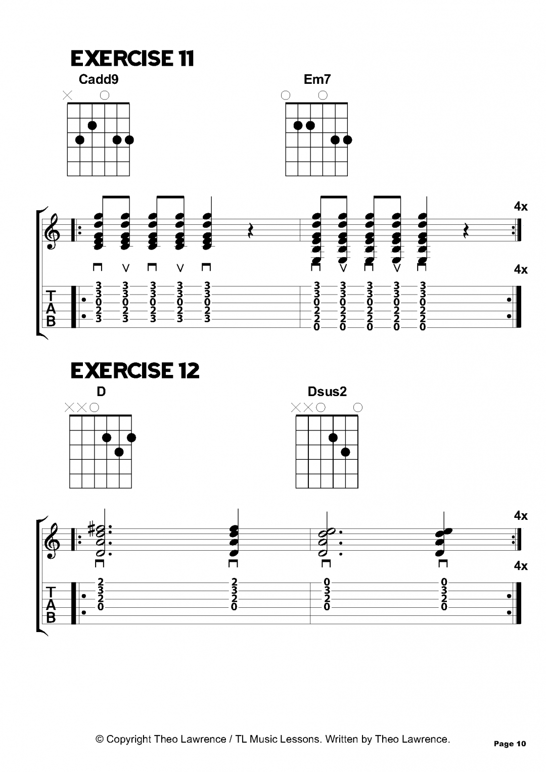 Exercises 11-12 – Inside The Book: 50 Chord Exercises for Beginners